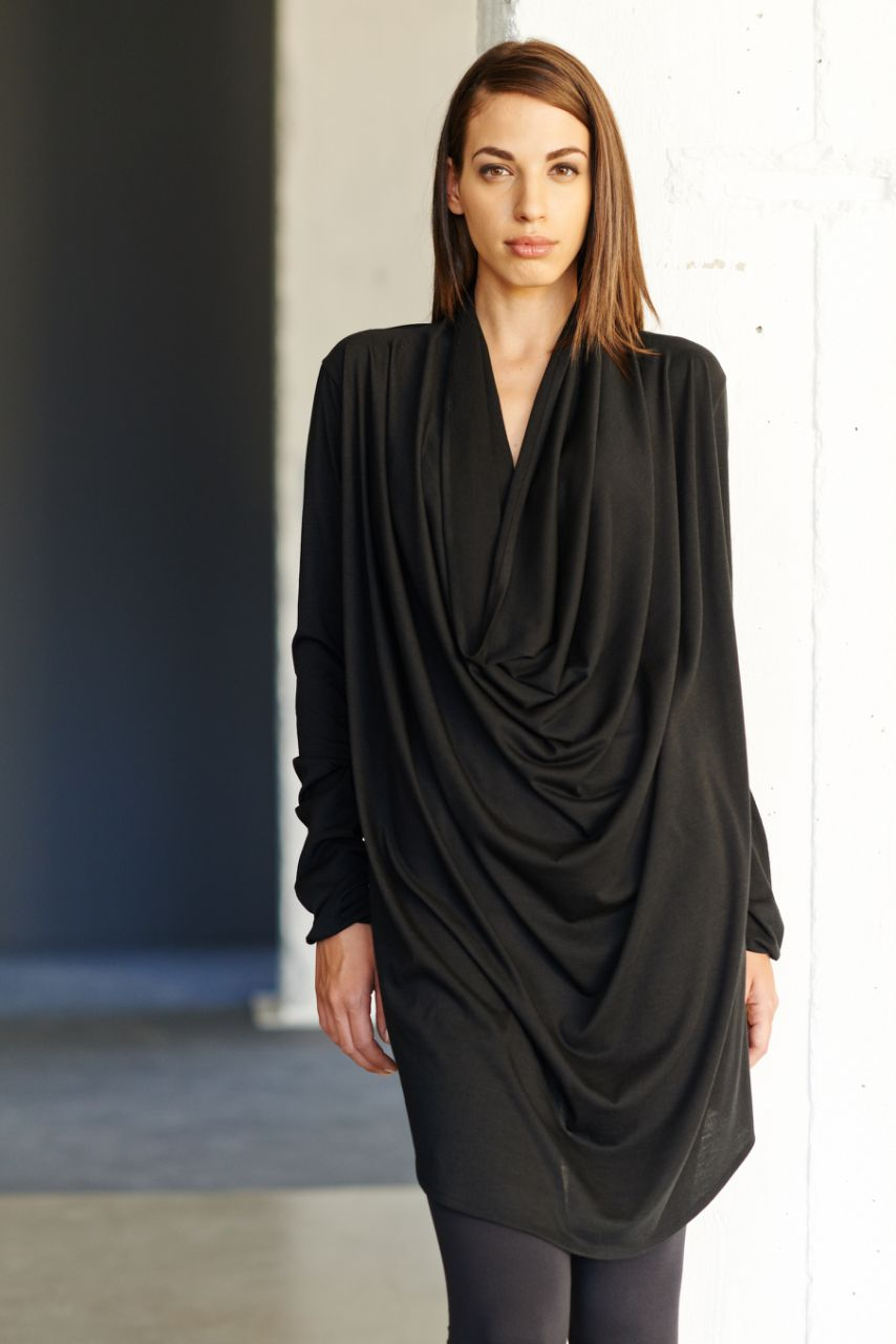 a35004c1298 Black Drape Tunic / Reversible Black Dress / Long Sleeves Tunic Top / Loose  Casual Black Blouse By Arya Sense
