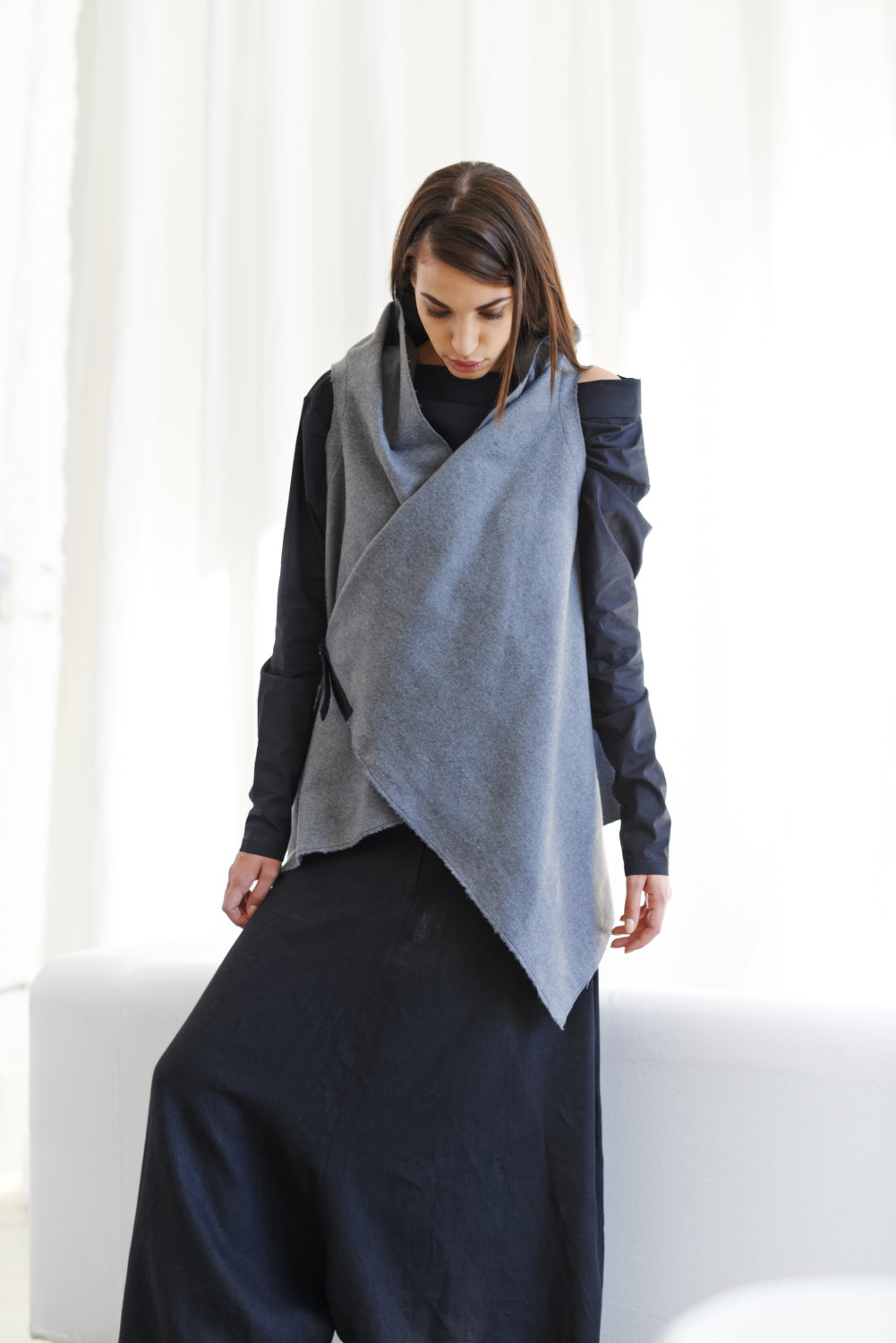 Arya Sense Kasha Sleeveless Coat / Soft Gray Wool Overcoat / Asymmetrical Kasha Vest With Premium Leather Black Strap